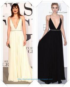 Un vestido de Saint Laurent lo llevo Dakota Johnson, en blanco; y en el Festival a Lily Donaldson en negro.