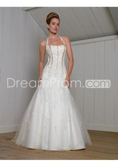 US $277.29 Free Shipping A-Line/Princess Halter Top Chapel Train organza wedding dress for brides 2010 Style(BST0097)