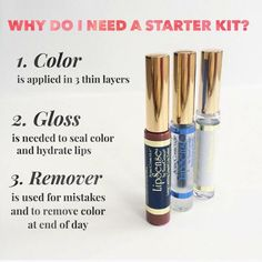 Lipsense starter kit Li starter kit includes 1 LipSense lip color of your choice , 1 gloss of your choice and an oops remover for lipsense Makeup Lip Balm & Gloss Lipsense Kit, Lipsense Lip Colors, Gloss Lipsense, Lipsense Sale, Senegence Makeup, Senegence Products, Long Lasting Lip Color, Lip Hydration, How To Remove