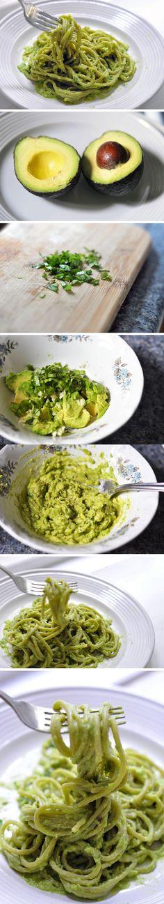 Pasta with avocado