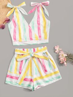 To find out about the Colorful Stripe Bow Tie Top & Tie Waist Shorts at SHEIN, part of our latest Two-piece Outfits ready to shop online today! Frocks For Girls, Dresses Kids Girl, Little Girl Outfits, Kids Outfits, Casual Outfits, Cute Outfits, Baby Dress Design, Baby Girl Dress Patterns, Frock Design