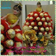 Signature Ferore Rocher Indian Bride Doll Ornament Wreath, Ornaments, Bride Dolls, Wreaths, Indian, Chocolate, Handmade, Decor, Decoration