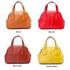 women brown/big red/brown-red/lemon yellow fashion leather crossbody shoulder bag handbag for women