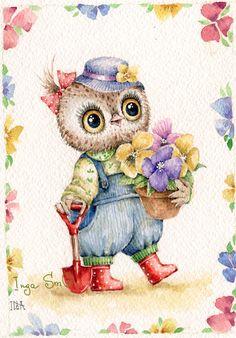 Сова весенняя                                                                                                                                                                                 Mais Art And Illustration, Illustrations, Art Drawings For Kids, Amazing Drawings, Owl Graphic, Owl Cartoon, Beautiful Owl, Wise Owl, Owl Bird