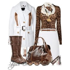 Skirt-Outfits-♥✤ | Keep the Glamour | BeStayBeautiful... Love the white and leopard... I wouldn't wear the boots with it-- Just personal preference...
