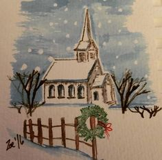 watercolor the art impressions way - snowy winter barn scen Art Painting, Art Drawings, Watercolor Stamps, Christmas Watercolor, Watercolor Cards, Painting, Church Art, Art, Art Impressions