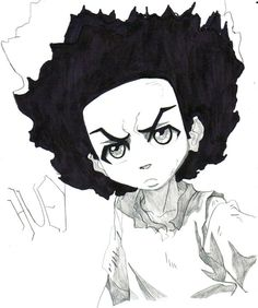 """Huey Freeman - The Boondocks """".I'm the spark that makes your ideas bright, the same spark that light the dark so that you can know your left from your right. Easy Cartoon Drawings, Dope Cartoon Art, Black Cartoon, Cartoon Sketches, Cool Art Drawings, Boondocks Drawings, Black Women Art, Black Art, Dope Cartoons"""