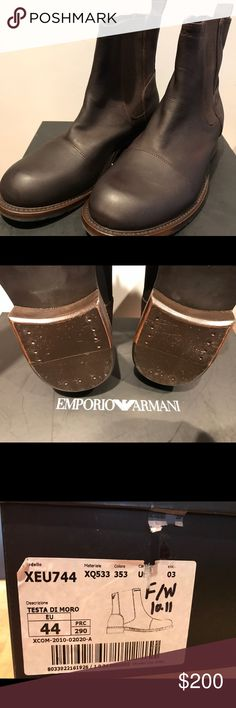 Brand New Armani Men's Boots Sample sale brand new Armani boots. The leather is in PERFECT CONDITION! For whatever reason there is some cracking on on the soles but other than that, these are in mint condition. Emporio Armani Shoes Ankle Boots & Booties