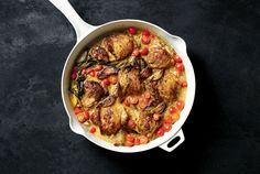 "Here is a simple, excellent one-pot recipe for a midweek feast, full of rich flavor, with a sauce that you won't want to waste It came to The Times via the Twitter account of Andrew Zimmern, who eats bugs on television as the host of ""Bizarre Foods"" on the Travel Channel but lives a sedate life back home in Minnesota when he's not working, which is not often His wife, Rishia Zimmern, adapted it from Martha Stewart, and he put it on the social network: ""Brown 8 thighs, 3 C shallots"