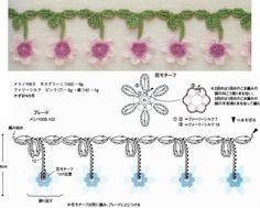 How to Crochet Wave Fan Edging Border Stitch Crochet Flower Tutorial, Crochet Flower Patterns, Crochet Stitches Patterns, Crochet Designs, Crochet Flowers, Crochet Feather, Crochet Cord, Crochet Lace Edging, Crochet Diagram