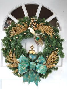 Winter Christmas Peacock wreath gold blue white green