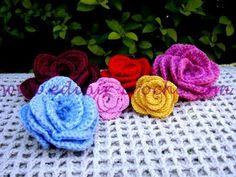 botoes de rosa em croche. gehäkelte Rose, crochet roses, flores - YouTube