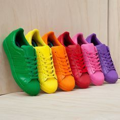 Pharrell x adidas Originals Superstar colour is life ⭐ Adidas Superstar, Cute Shoes, Me Too Shoes, Adidas Shoes, Shoes Sneakers, Mode Inspiration, Rainbow Colors, Rainbow Shoes, Bright Colours