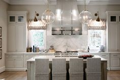 Warm White Kitchen Design & Gray Butler's Pantry