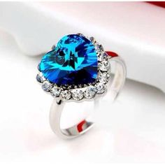 Fashion Diamond Embellished Blue Crystal Ring