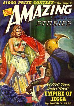 Amazing Stories Nov 1943 Vintage Pulp Fiction Sci-Fi Fantasy Empire of Jegga G+ Science Fiction Magazines, Science Fiction Art, Archie Comics, Arte Pulp Fiction, Arte Sci Fi, Pulp Magazine, Magazine Covers, Magazine Art, Classic Sci Fi