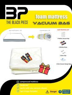 The Black Piece Vacuum Storage Bags, Vacuum Bags, Bag Storage, Full Mattress, Home Accessories, Amazon, Black, Amazons, Riding Habit