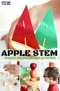 Apple STEM activities and challenges to go along with Ten Apples Up On Top by Dr. Seuss. Fun Fall STEM and science ideas perfect for preschool, kindergarten, and first grade fall apple activities using real apples! Stack and balance apples, build apple structures for Fall engineering, and make apple boats to float.