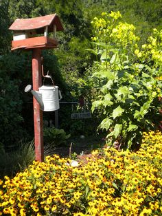 Rustic Garden...with weathered birdy house & old zinc watering can...flowers.
