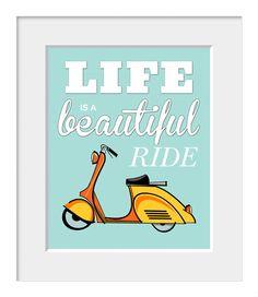 VESPA~Quote Print Retro Bike Moped Vespa Print by printdesignstudio