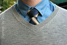 Chambray oxford, university tie and H sweater