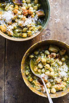 Garlic and Cilantro Soup with Chickpeas (Açorda Alentejana) from Christopher Kimball's Milk Street Cookbook Recipes, Soup Recipes, Vegetarian Recipes, Cooking Recipes, Healthy Recipes, Vegetarian Lifestyle, Dinner Recipes, Chickpea Soup, Cooking Courses