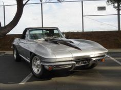 1967 Chevrolet, Corvette  69800.00 USD  1967 Corvette Convertible. Chevy big block 502 engine installed for added performance. Original 327/350hp engine included with car. 4-Speed transmission. Beautiful, correct 986 Silver Pearl paint with correct 402 Black Leather interior. Black canvas soft top. Equipped with Power steering and Power brakes.  http://www.collectioncar.com/detailed.php?ad=59307&category_id=1