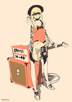 Fender Mustang coupled with a Orange crate & head Character Concept, Character Art, Concept Art, Illustration Girl, Character Illustration, Manga Art, Anime Art, Art Magique, Ecchi
