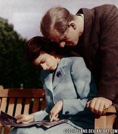 Queen Elizabeth II (still as Princess Elizabeth) with her new husband, Prince Philip, on their honeymoon in Broadlands, Hampshire.