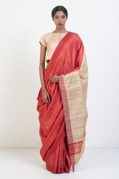 Red Pure Tussar Silk Saree with Beige Pallu