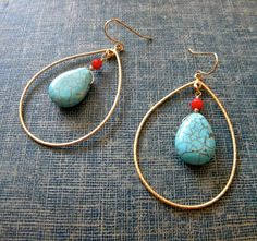 Turquoise and Coral Earrings  Gold by ikeandco on Etsy, $24.00