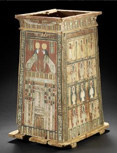 A large Egyptian wood canopic jar box for Pa-di-wesir  Heracleopolis, Ptolemaic Period, circa 332-30 B.C.