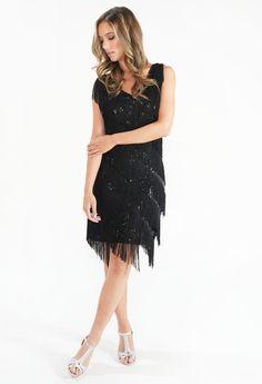 Pamela Scott Black Sequin Fringe Dress | Pamela Scott Fringe Dress, Kids Boots, City Style, Black Sequins, Barbour, Cocktail Dresses, Ted Baker, Dresses Online, Lady