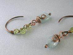 Aquamarine Earrings Peridot Jewelry Wire Wrap by RuthAndJack