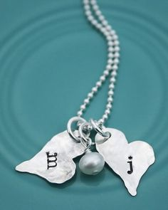 The Vintage Pearl Dainty Initial Hearts Necklace (2 charms: c, a personalization)