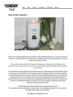 Arran Aromatics Velvet Isle candle promoted on The Sunday Girl's blog