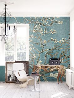Painted Cherry Blossom Removable Wallpaper | COLORAYdecor.com