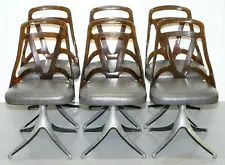 A very cool and decorative set of chairs, they have Perspex backs, leather seats and solid steel sculptural bases. Each chair is stamped to the back base of the Perspex Grafton on one side and EST 4001 on the other. Antique Dining Chairs, Mid Century Dining, Big Yellow, Looking To Buy, Kitchen Chairs, Mid-century Modern, Sculpture, Steel, Antiques