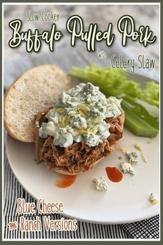 Slow Cooker Buffalo Pulled Pork with Celery Slaw Tailgating Food done right. #PulledPork in your #SlowCooker #BuffaloStyle with #CelerySlaw topping - move over wings, these pork sandwiches are where it's at! @iowapork #sponsored #IowaPork USAPork Best Slow Cooker, Slow Cooker Pork, Slow Cooker Recipes, Crockpot Recipes, Pork Sandwich, Sandwiches, Easy Weeknight Meals, Easy Meals, Pork Wraps