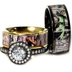 New pc Black and Gold His and Hers Camo Wedding Rings Set Size Men