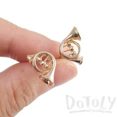 3D French Horn Shaped Music Themed Stud Earrings in Gold   DOTOLY