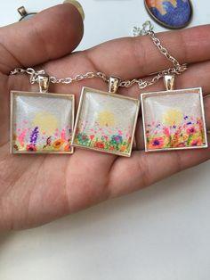Flower meadow necklace  Amandabachmanart on Etsy
