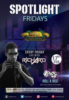 Start your weekend at Café Mojo Goa as DJ Richard plays live music to light up your Friday night. Spotlight Fridays is here for you to have a memorable night! #CafeMojo #NightLife #Party #Goa #NightClub #Pub #BeerDrink #Music #Fun #Enjoy #NightOut.
