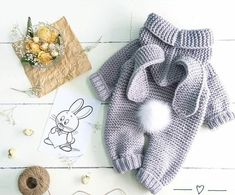 Diy Crafts - knitted baby romper, baby bunny costume, knitted baby clothes, newborn crochet outfit, baby winter c Winter Baby Clothes, Knitted Baby Clothes, Knitted Romper, Crochet Clothes, Crochet Outfits, Crochet Dog Sweater, Crochet Dresses, Babies Clothes, Babies Stuff