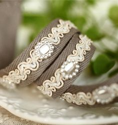 """Cotton Ribbon Beaded Trim 0.63"""" 1.6cm width for Headbands, Bridal, Straps, Crafting MM003"""