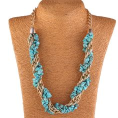 Fashion Women Necklace Link Chain Natural Stone Jewelry Necklace Three Colors Choose