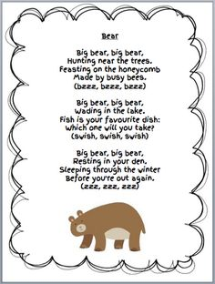 Grade ONEderful: Bear Unit Bear Freebies from my Week. Lots of ideas and freebies for a bear unit in a first grade class. Bears Preschool, Preschool Music, Preschool Activities, Therapy Activities, Winter Preschool Themes, Montessori Science, Teddy Bear Day, Teddy Bears, Teddy Bear Poem