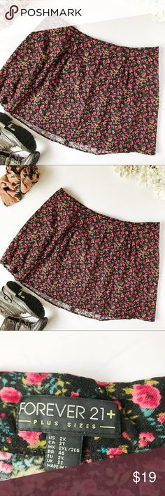 Forever21 Floral Skater Skirt Such a cute skirt to wear with a combat boots for fall! 100% cotton. L 20. W 20. Stock 90–99 Forever 21 Skirts