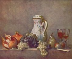 Still life with porcelain teapot, 1763 - Jean-Baptiste-Simeon Chardin Louvre Paris, Painting Prints, Art Prints, Forest Pictures, Orange Grey, Great Artists, Les Oeuvres, Vintage Art, Still Life