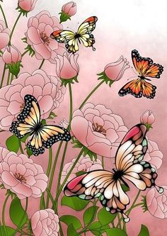 Butterflies Butterfly Painting, Butterfly Crafts, Butterfly Wallpaper, Butterfly Art, Beautiful Butterflies, Beautiful Flowers, Etiquette Vintage, Butterfly Pictures, Fabric Painting